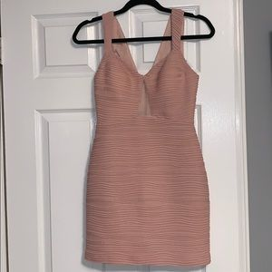 Light pink party dress with sheer chest cut out